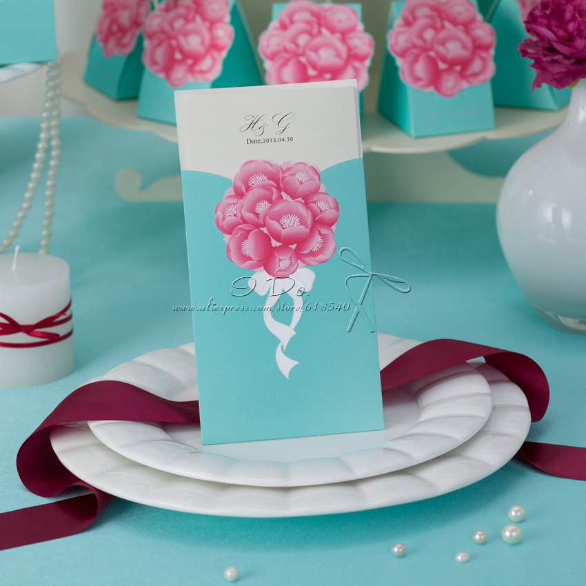 Free Shipping 50pcs Personalized Pink And Mint Blue Wedding