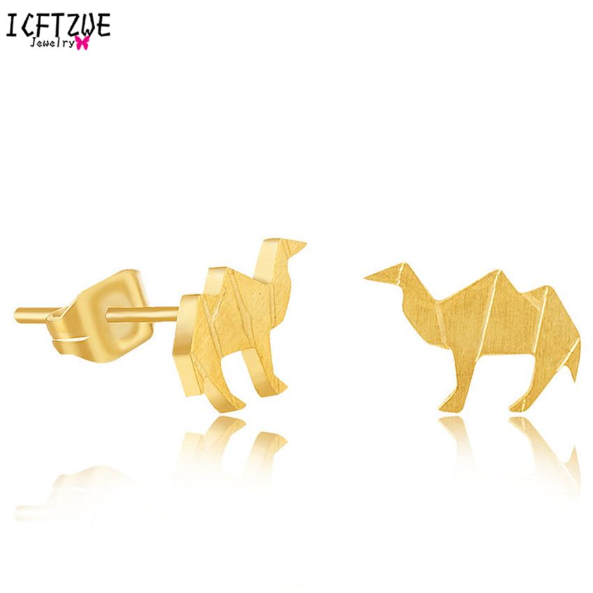 ICFTZWEc 10pairs Famous Brand Jewelry Aros Animales Silver Camel Stainless Steel Earrings Women Gold Colour Oorbellen