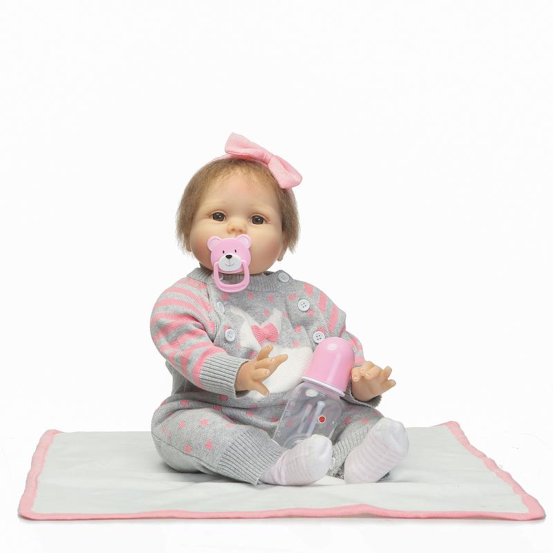 Hair Rooted Reborn Baby Doll 55 cm Soft Silicone Lifelike Alive Dolls with Pacifier Kids Birthday Xmas Toy Gift Newborn Bonecas 2015 new design soft silicone reborn baby doll rooted human hair fashion doll christmas gift