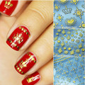12Pcs Gold 3D Nail Art Sticker Embossed Crown Chain Grid Leopard Patterned Sticker # 10481