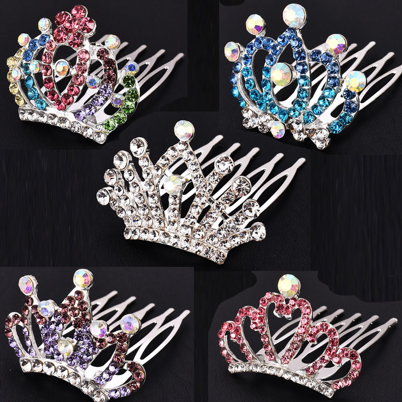M MISM 2019 New Cute Rhinestones Crown Hairgrip Hair Comb For Girls Hairpins Baby Hair Accessories Ornaments Hair Clips Wedding