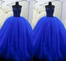 luxury royal blue Quinceanera dresses 2017 off shoulder crystal beaded ball gown tulle formal party girls debutante dress