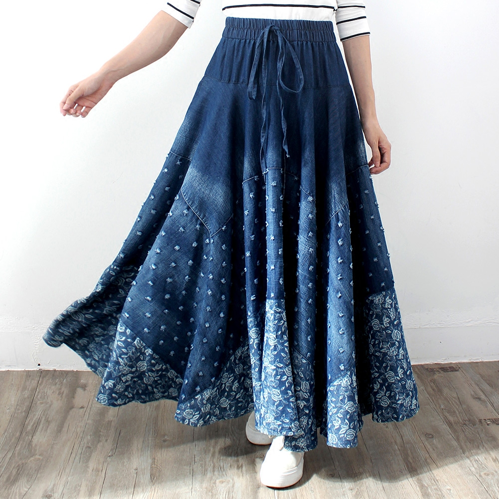 Free Shipping 2017 Long Maxi A-line Skirts Women Elastic Waist Spring And Autumn Denim Jeans Blue Skirt With Holes Lady Skirt blue leather look skater skirt with elastic band