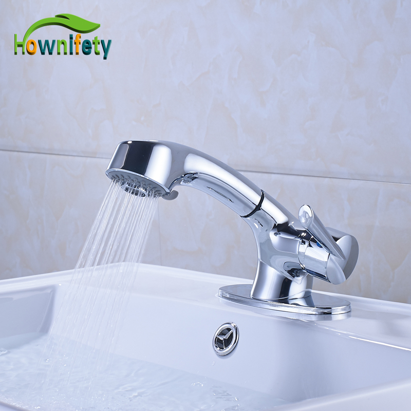 Brass Bathroom Single Handle Mixer Tap Chrome Finished: Chrome Polished Solid Brass Pull Out Bathroom Sink Faucet