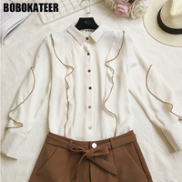 BOBOKATEER Fashion Blusa Camisas Femininas Manga Longa 2017 Blouse Women Tops Shirts Women Blouses White Blusas