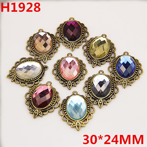 30PCS/Lot Vintage Antique Bronze Alloy Pendant Charms Acrylic Rhinestone Paved Oval Jewelry Necklace Earring Keyring Charm