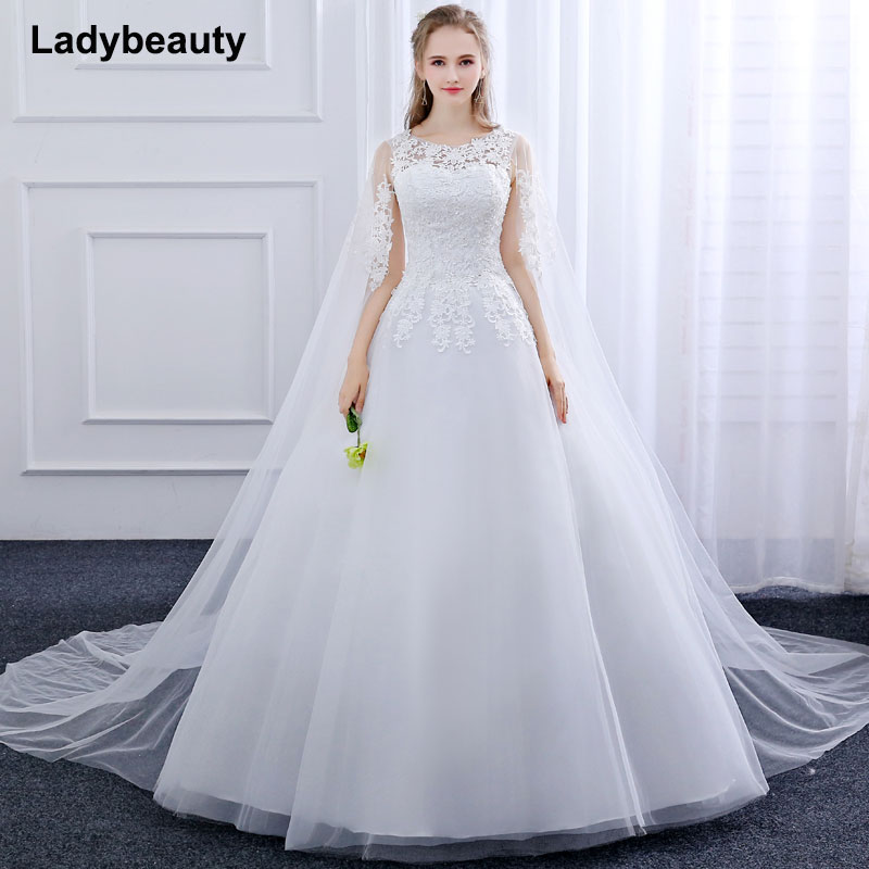 2018 New Ball Gown Vestido De Novia Tulle Wedding Dress O-Neck Lace embroidery applique long Trailing shawl white wedding dress