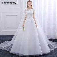 2018 New Ball Gown Vestido De Novia Tulle Wedding Dress O Neck Lace embroidery applique long Trailing shawl white wedding dress