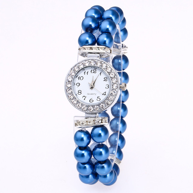 Women Watches Rhinestone Pearl String Bracelet Watch Ladies Fashion Quartz Wrist