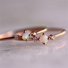 Thin Rainbow Fire Opal Ring For Women