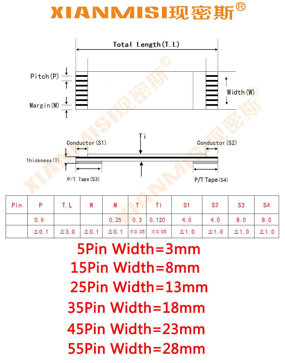 FFC/FPC Platte Flex Lint Kabel 5Pin 15Pin 25Pin 35Pin 45Pin 55Pin dezelfde Kant 0.5mm Pitch AWM VW-1 20798 80C 60 V Lengte 5 cm 5 STKS