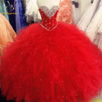 High Quality Red Ball Gown Quinceanera Dresses 2016 Beaded Eaded Crystals Ruffles Sweet 16 Dresses For