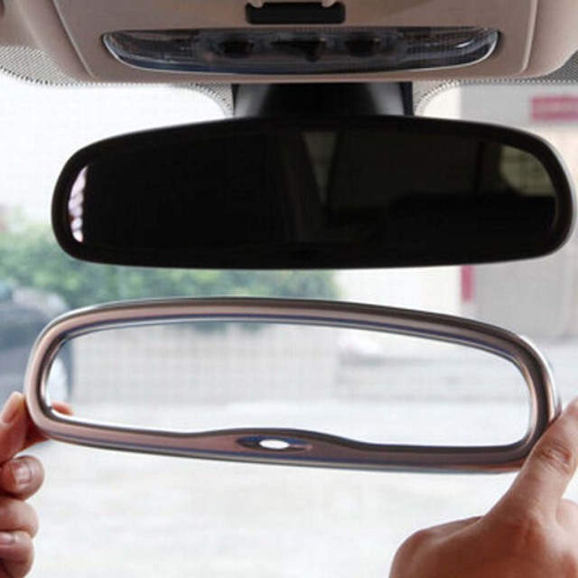 Inner Door Roof Rear View Rearview Mirror Cover Trim Frame Sticker