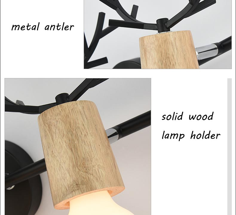 Nordic Vintage Antler Wall Lamp Contemporary Art Dec Black White Wood Antler Wall Light Sconce Bedside Reading Adjustable Arm Light Bedroom Wall Lamp (8)