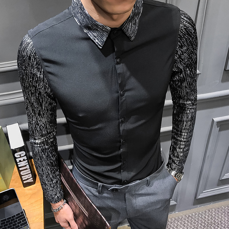 2019 Spring New Shirt Dress Brand All Match Men Shirt Long Sleeve Patchwork Design Solid Mens Shirts Casual Slim Fit Prom Tuxedo