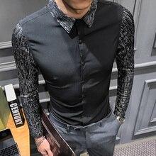 2020 frühjahr Neue shirt kleid marke alle spiel männer hemd langarm patchwork design solide herren shirts casual slim fit prom smoking