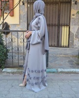 Elegant Adult Muslim Abaya Arab Turkish Singapore Cardigan Appliques Jilbab Dubai Muslims Women Dresses Islamic Dress