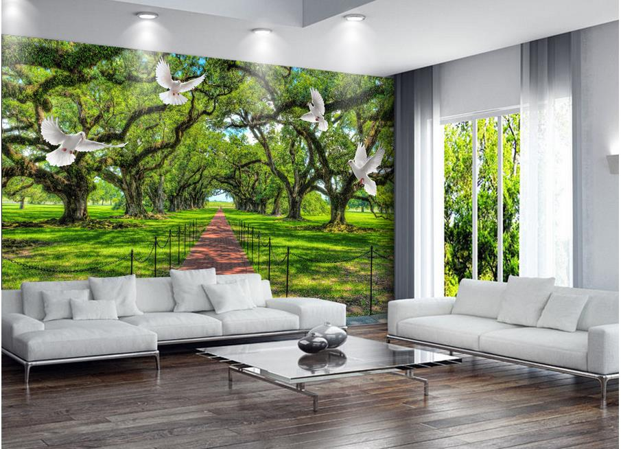 3d bathroom wallpaper home decoration green forest 3d for Wallpaper home green