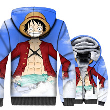 Anime One Piece Hoodie Men Straw Hat Luffy Sweatshirts Winter Thick Fleece Harajuku Jacket The Pirate King Coat 3D Streetwear