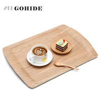 JUH A Wooden Rectangular Plate Large Fruit Tray Wood Pallet Fruit Cake Plates Waterproof Dinner Plates Buffet Dishes Tea Tray