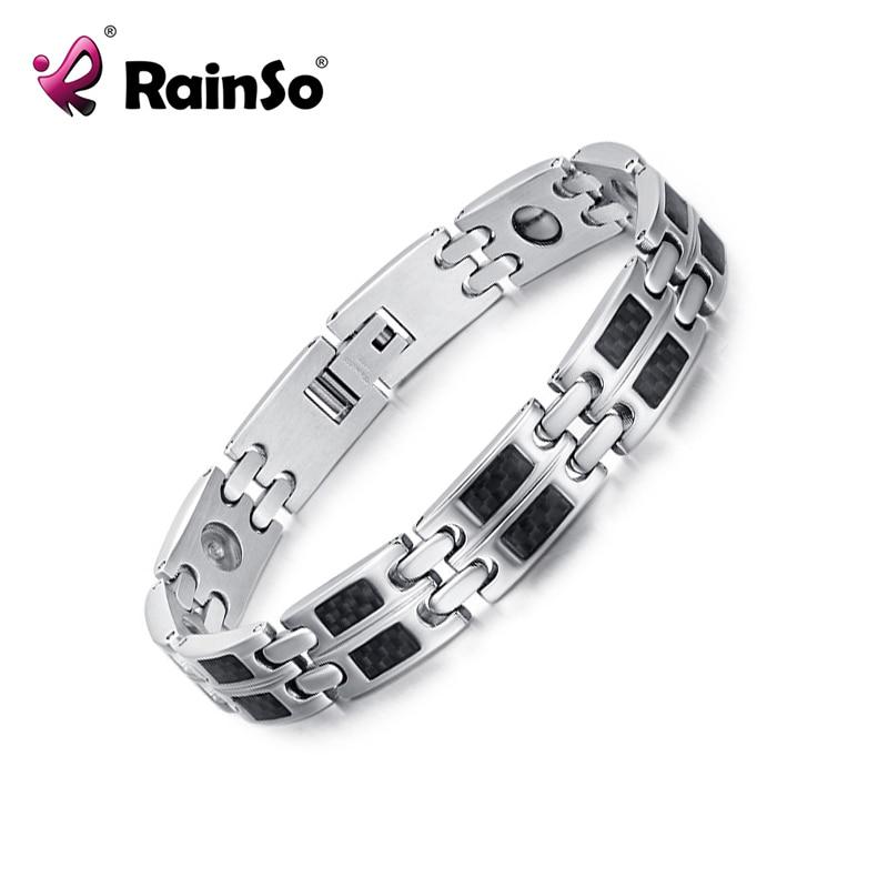 efd8ab54c Rainso Brand Men Stainless Steel Black Carbon Fiber Magnetic Element Power  Bracelet for Health Silver Polished JEW01436