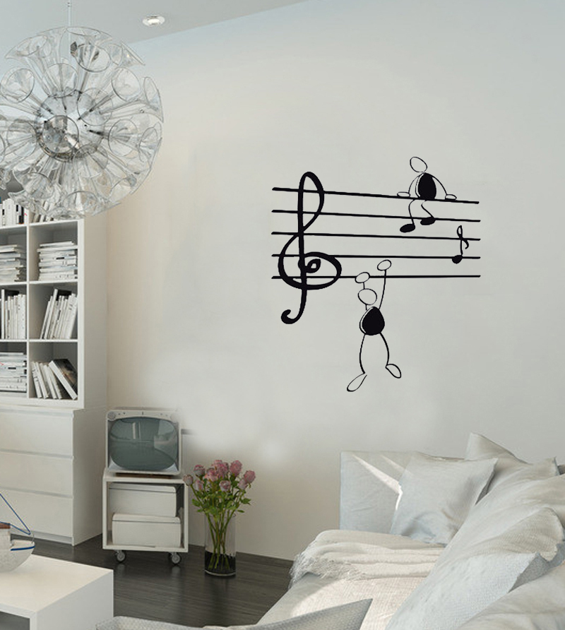 Wall Sticker Music Notes Funny Guys For Living Room Vinyl Stickers  Instrumen Art In Wall Stickers From Home U0026 Garden On Aliexpress.com |  Alibaba Group