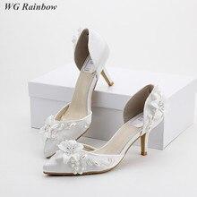 Frauen Sandalen Weiß Spitze Hochzeit Schuhe Blume Perlen Perlen Brautschuhe Elegante Dame Promi-party Kleid Schuhe