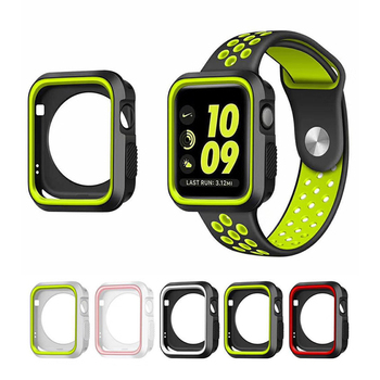 Fall resistance Soft Silicone Case For  Watch  Series 1 & 2& 3 Cover Frame Full Protection 42mm 38mm strap band strap