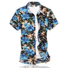 Blouse Men Fashion Flower Mens Dress Shirts Short Sleeve Casual Floral Hawaiian Shirt Summer flower leaf feather floral shirt men dress slim long sleeve mens shirts casual blouse men hawaiian style blue grey summer