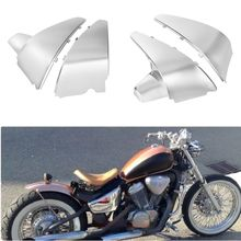 1Pair Motorcycle Battery Side Fairing Cover ABS Plastic Silver for Honda Shadow VLX 600 VT600C STEED400 88-98 97 96(China)