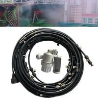 S080 Pack 26pcs mister head 18M low pressure greenhouse mist cooling sprayer system 1/4'' hose 0,1mm 0.8mm nozzle orifice option