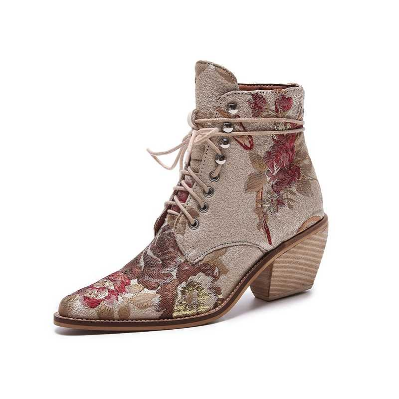 Yüksek topuk yarım çizmeler ücretsiz kargo kadın ayakkabı kış 2019 Yeni kadın işlemeli çizmeler botines mujer botte femme bottine Çiçek