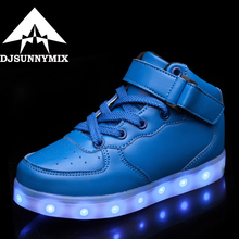 DJSUNNYMIX Kids Boys Girls USB Charger Led Light Shoes High Top Luminous Sneakers casual Lace Up Shoes Unisex Sports for child