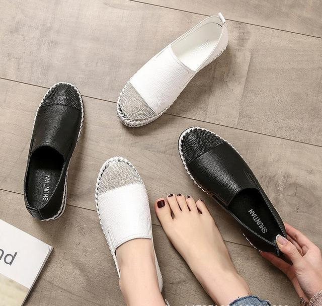 European Famous Brand Patchwork Espadrilles Shoes Woman Genuine Leather Creepers Flats Ladies Loafers White Leather Moccasins 2