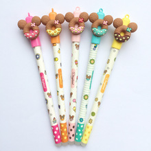 Buy 5 pcs Cute bear gel pen Donuts cookie 0.5mm ballpoint Blue color pens Stationery school writing supplies Canetas escolar F440 directly from merchant!