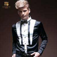 FANZHUAN Men's Shirt Long Sleeve Autumn Slim Fashion Black and White Contrast Dress Men's Clothing
