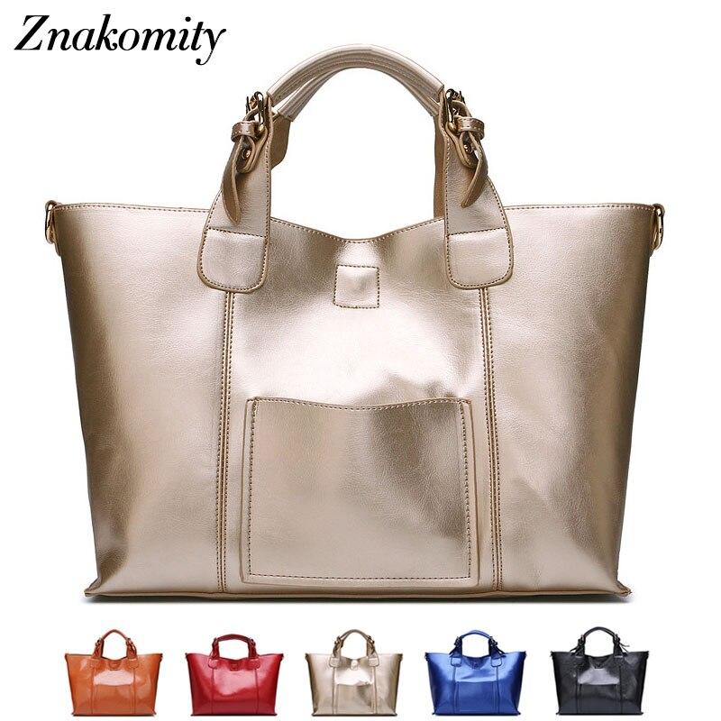все цены на Znakomity Gold big real genuine leather handbags for woman hand bag fashion Luxury large casual tote bag shoulder messenger bag онлайн
