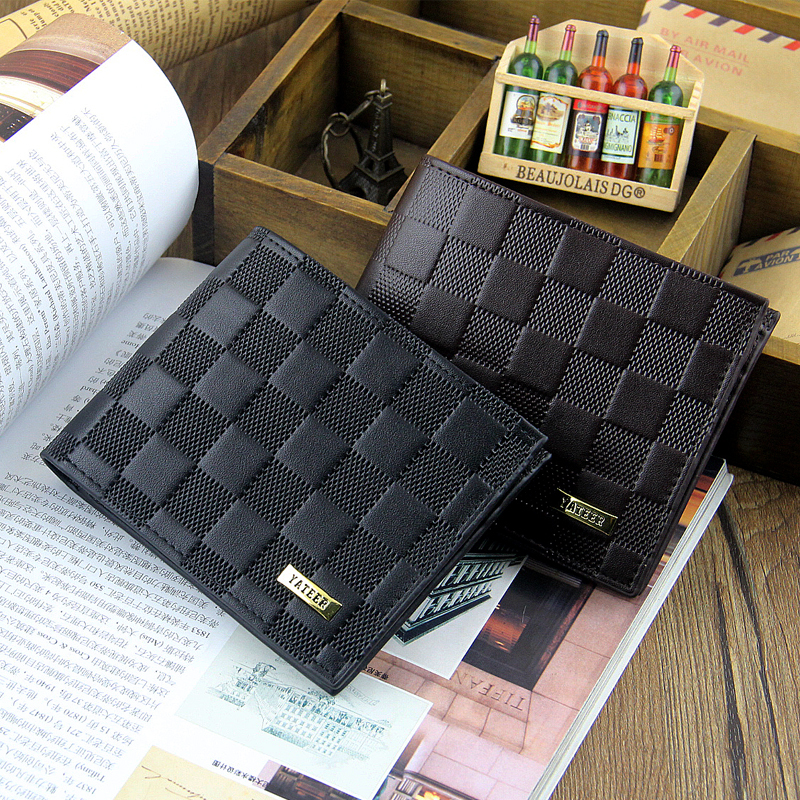 Hot Fashion Men Wallets Geometric Plaid Pattern Design Short Style PU Leather Wallet Black Brown Card Holder Purse Free shipping lorways 016 stylish check pattern long style pu leather men s wallet blue coffee