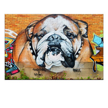 1 Stücke Banksy Kunst Tier Bunte Hund Leinwand Malerei Moderne Graffiti Bulldog Straße Artwork Wall art für Wohnkultur