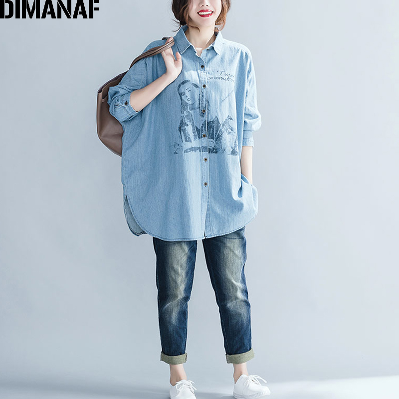 DIMANAF Women Top Shirts Autumn Female Clothing Vintage Denim Blue Long Sleeve Loose Cotton Print Plus Size Cardigan Winter 2018 5