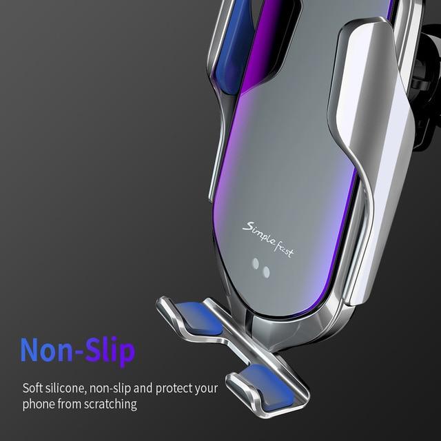 Cargador inalámbrico automático de sujeción para coche de 10W de carga rápida para Iphone 11 Pro XR XS Huawei P30 Pro Qi soporte de teléfono con Sensor infrarrojo
