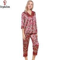 Lente Zomer Herfst Vrouwen Chinese Satijn Zijde Pyjama Sets Van slaap Sets Lady Nachthemd + Broek Meisje Sexy Superieure Kwaliteit SY10