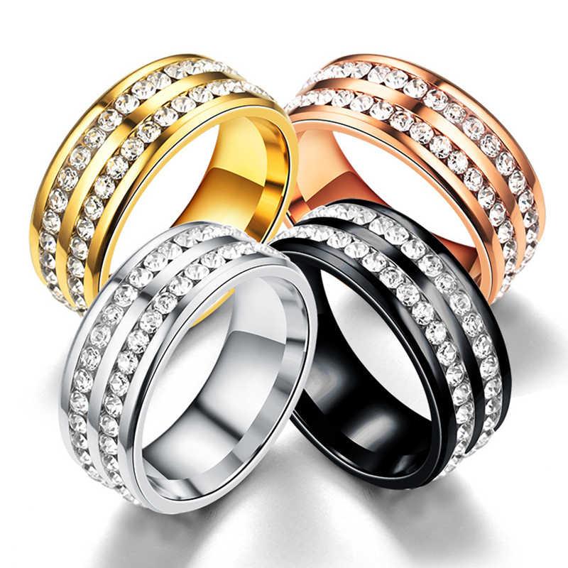 ELSEMODE 5 2 แถวแหวนคริสตัลสำหรับผู้หญิงสีดำทองสีเหล็กสแตนเลสงานแต่งงานแหวนหมั้น femme