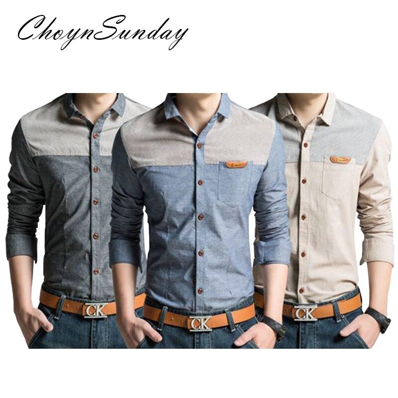 ChoynSunday 2018 new trend Men's Youth Slim Spring and Autumn Casual Shirt Men's Imitation Denim Shirt Men's Long Sleeve shirt 5