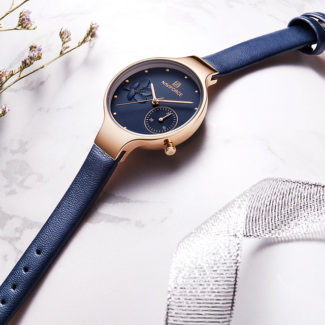 NAVIFORCE Women Fashion Blue Quartz Watch Lady Leather Watchband High Quality Casual Waterproof Wristwatch Gift for Wife 2019 2
