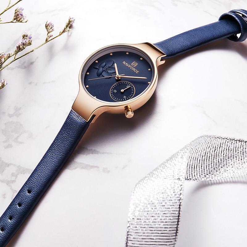 NAVIFORCE Women Fashion Blue Quartz Watch Lady Leather Watchband High Quality Casual Waterproof Wristwatch Gift for Wife 2019 2