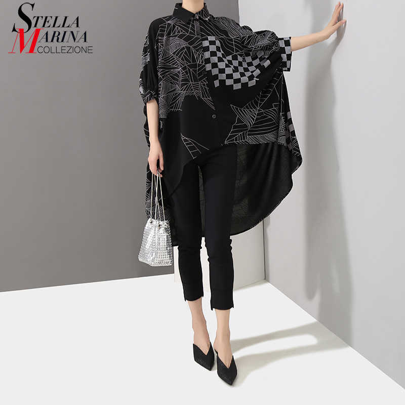 2019 Korean Style Women Summer Black Tops Long Blouse Shirt Plus Size Batwings Sleeve Lines Printed Feminine Shirt Blusas 4939