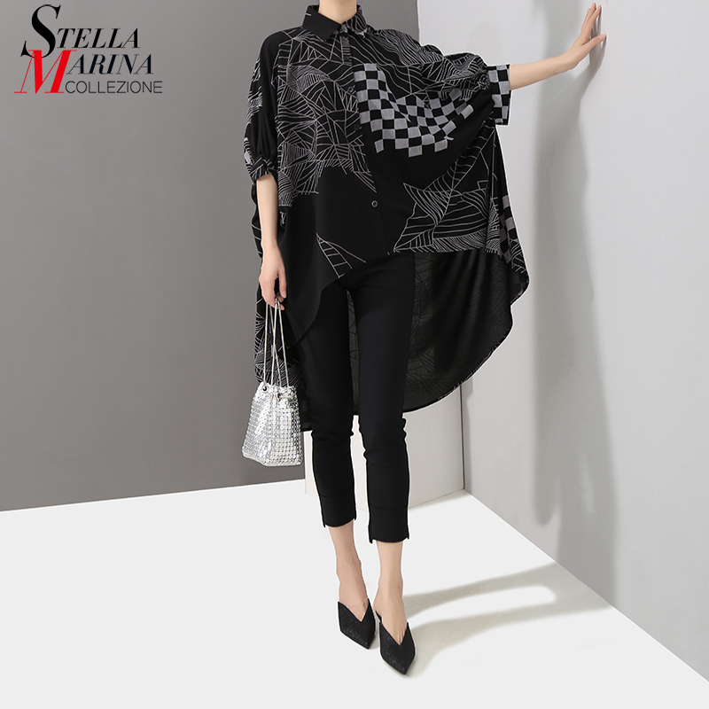 2019 Korean Style Women Summer Black Tops Long Blouse Shirt Plus Size Batwings Sleeve Lines Printed Feminine Shirt Blusas 4939