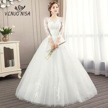 Дизайн, сексуальные и иллюзионные Свадебные платья с вышивкой и аппликацией, элегантные бальные свадебные платья в пол с круглым вырезом на шнуровке