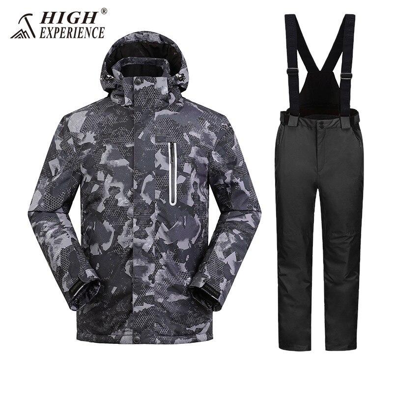 2019 haute expérience hommes Ski costume Snowboard vêtements pantalon coupe-vent imperméable Sport de plein air porter mâle Super chaud épaissir ensemble